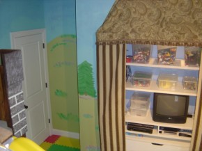 Castle Playroom TV Rack Up View