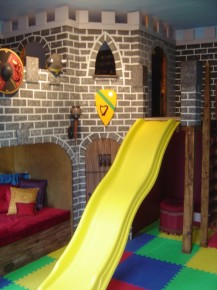 Castle Playroom With Yellow Slide