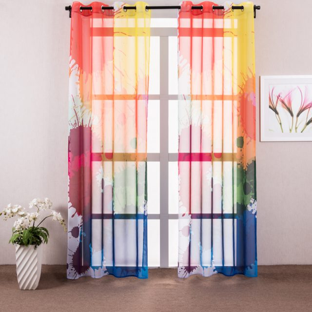 Colorful spring summer living room curtains with print mspaintart.com
