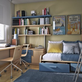 Design Ideas Small Floorspace Kids Rooms Bunk Bed Blue