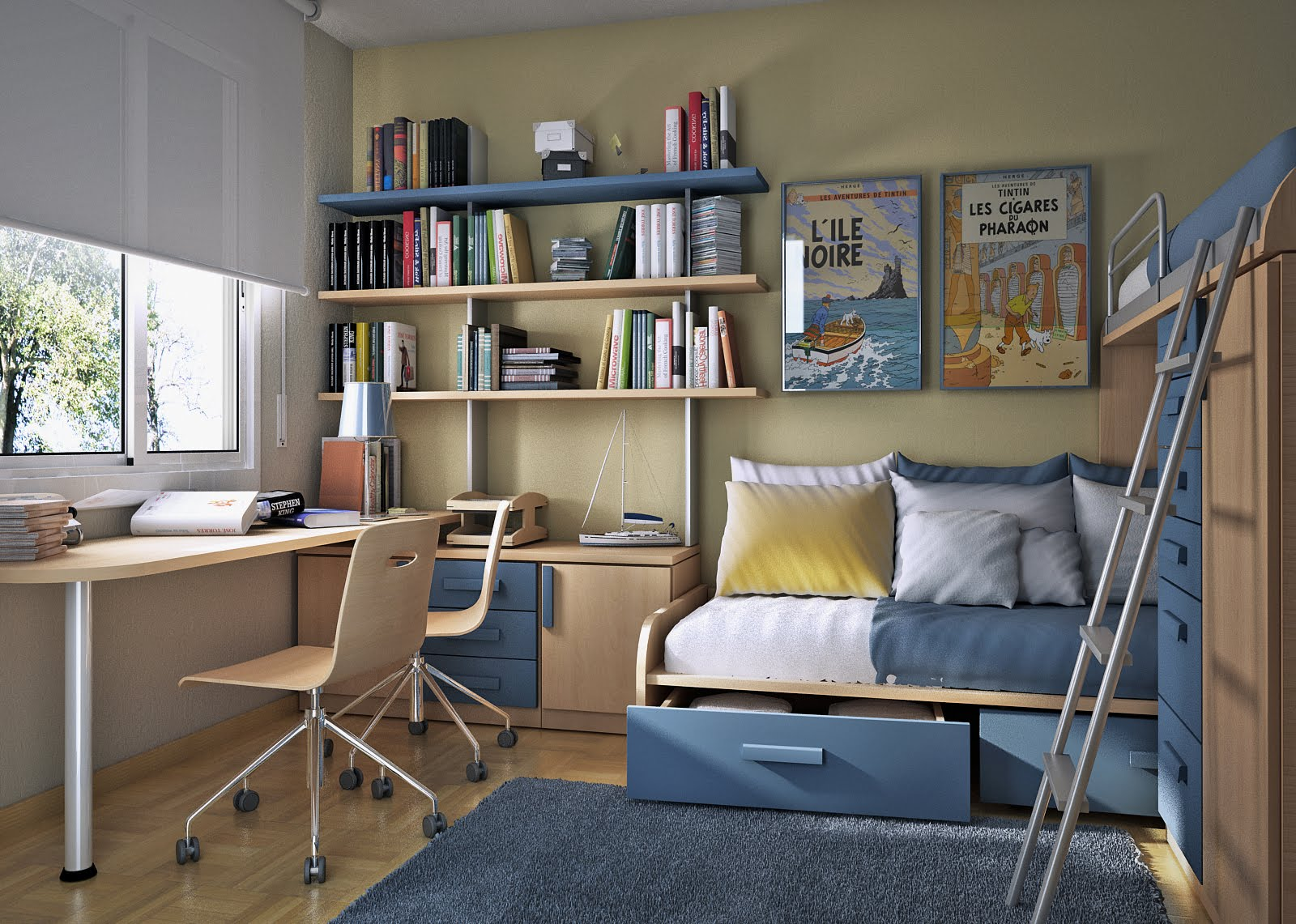 Design ideas small floorspace kids rooms bunk bed blue - Bunk bed designs for small rooms ...