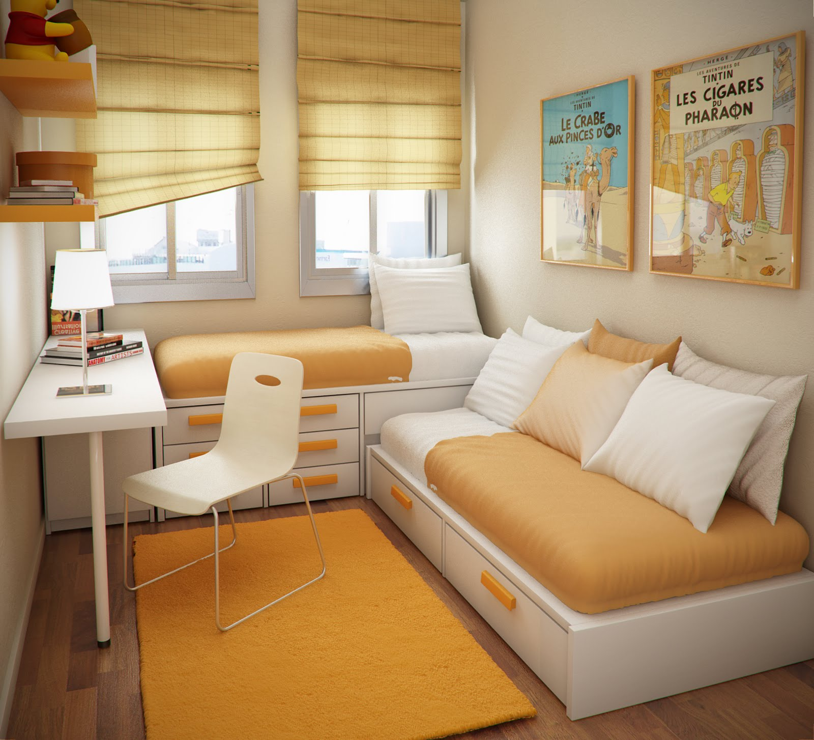 Design ideas small floorspace kids rooms fresh orange for Kids bedrooms interior designs