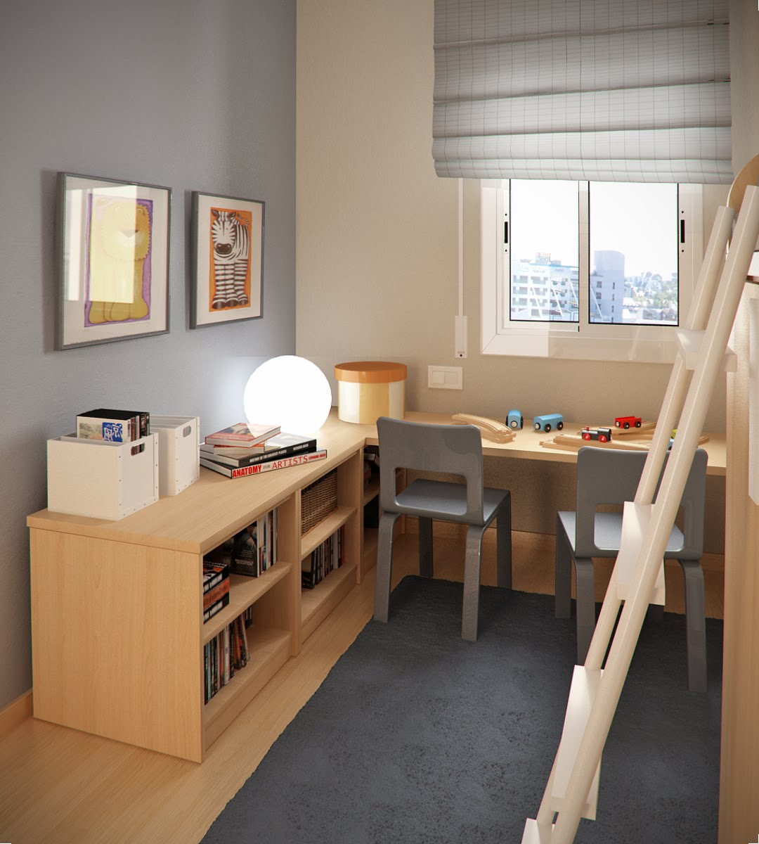 Design ideas small floorspace kids rooms grey brown - Small space playroom ideas ...