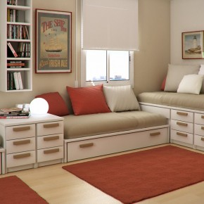 Design Ideas Small Floorspace Kids Rooms Red Brown