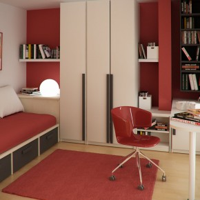 Design Ideas Small Floorspace Kids Rooms Red White