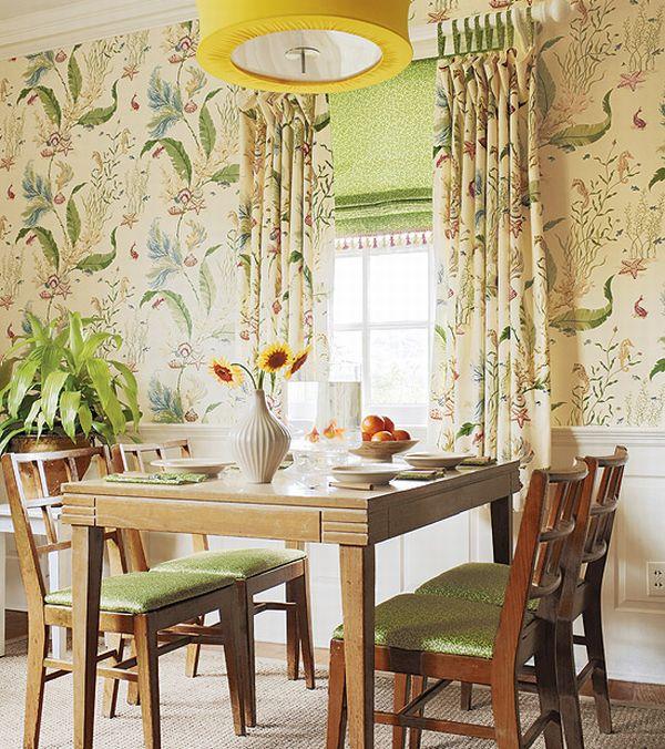 Interior French Country Cute Floral Wall Decor Dining Room Interior