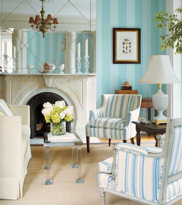Design interior french country bright blue striped and Parisian style home