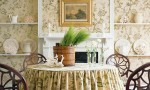 Design Interior French Country Bright Brown Floral Wall Dining Room