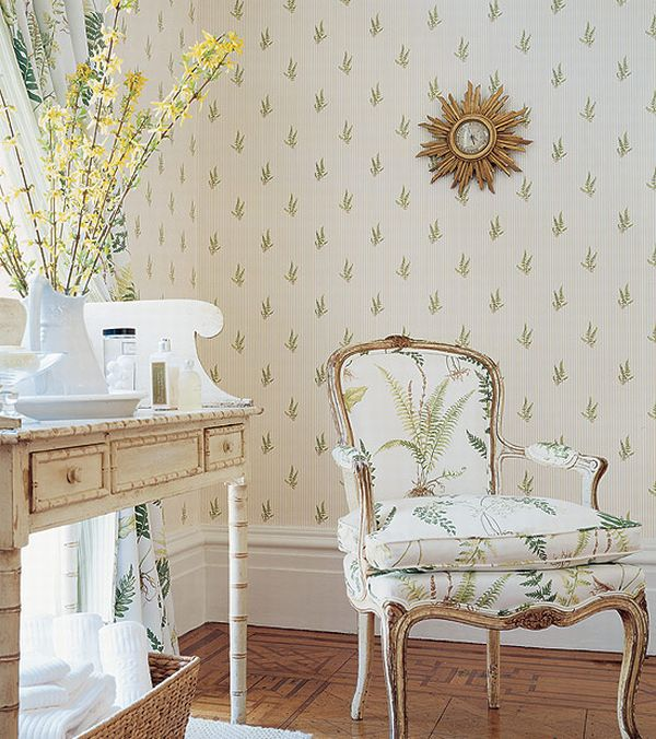 Design Interior French Country White Wall Retro Floral