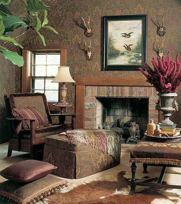 Design interior french country brown fireplace warm lounge for Country interior designs