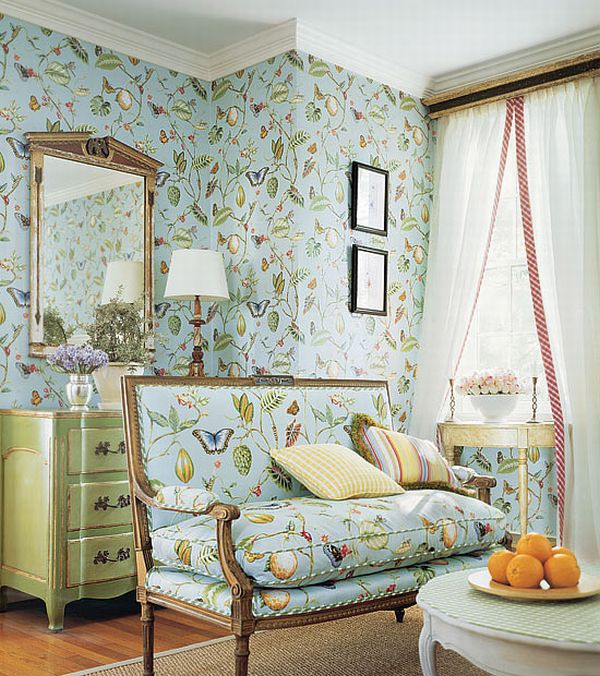 Design interior french country green floral wall and lounge floral interior design center - French house interior design ...