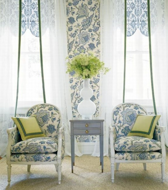 Design Interior French Country Grey Retro Floral White Combination Two Chair
