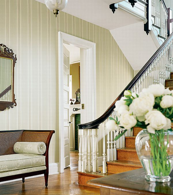 French Country Hallway Ideas Decor: Design Interior French Country Wooden Stair White Corner
