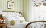 Design Interior French Country Striped Green White Floral Bed