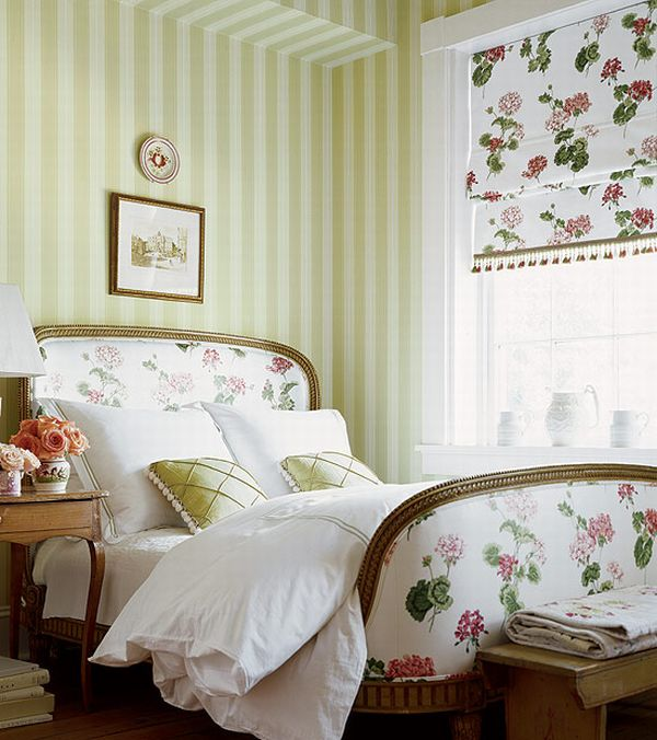 inspiring country chic bedroom decorating ideas | Design Interior French Country Striped Green White Floral ...