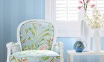 Design Interior French Country Bright Blue White Floral Chair