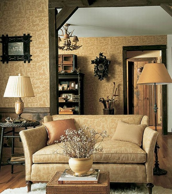 Design interior french country elegant brown sofa retro - Interior design brown sofa ...