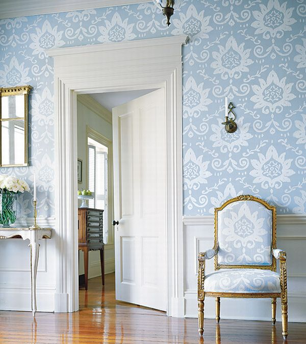 Design Interior French Country Bright Blue White Door Interior