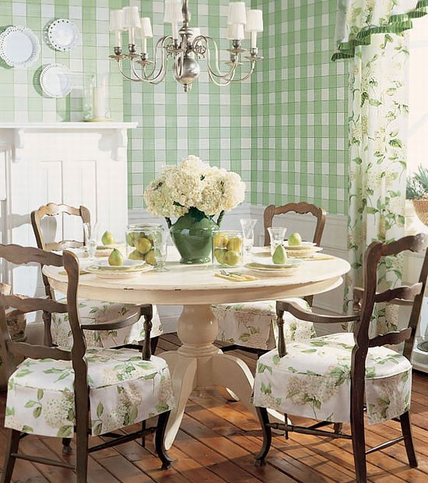 Design Interior French Country Striped Green Wall And Table Porcelain