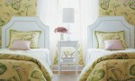 Design Interior French Country Green Floral Two Beds