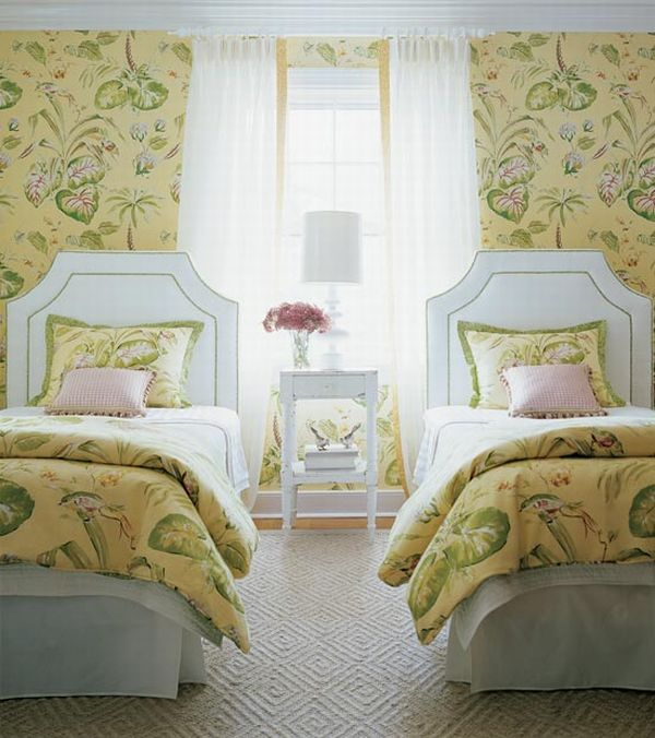 design interior french country green floral two beds interior design