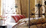 Design Interior French Country Brown Bedcover and Red Striped Pillow