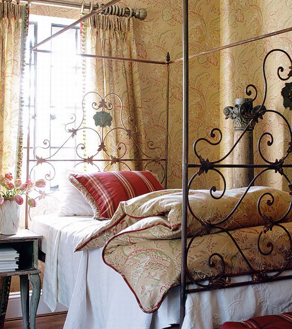 Modern Furniture Small Kitchen Decorating Design Ideas 2011: Design Interior French Country Brown Bedcover And Red