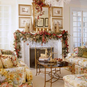 Gold Living Room Christmas Decorating