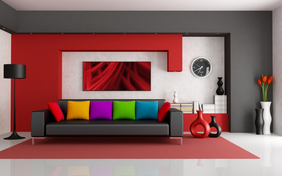 Colorful contemporary living room with leather sofa safarimp.com