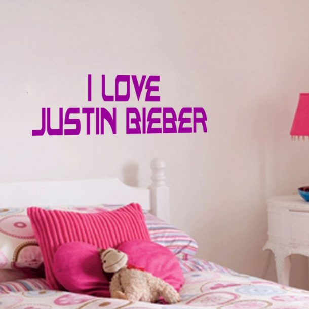 I love justin bieber wall art bedroom sticker decal i love for Justin bieber bedroom ideas
