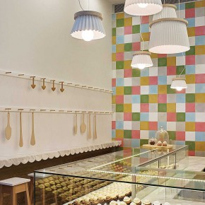 Interior Design for a Cupcake Shop with cool white light