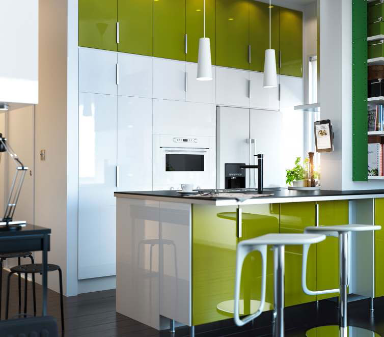 Kitchen design ideas 2012 by ikea white green cabinet for Modern green kitchen designs