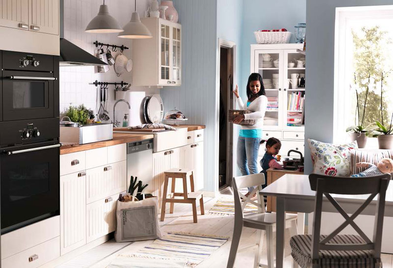 Decoracion De Interiores Cocinas Ikea ~ Kitchen Design Ideas 2012 by IKEA White and Bright Blue Wall