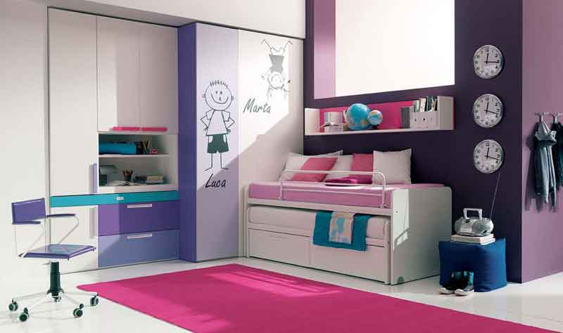Pink Combination Purple Teen Girls Bedroom Interior Design Center Inspiration