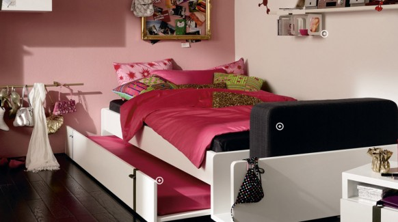 Pink double bed cool and trendy teen room design ideas - Cool teen room ideas ...