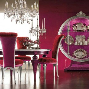 Purple Wall and Purple Chair on Elegant Luxury Dining Room Set by AltaModa
