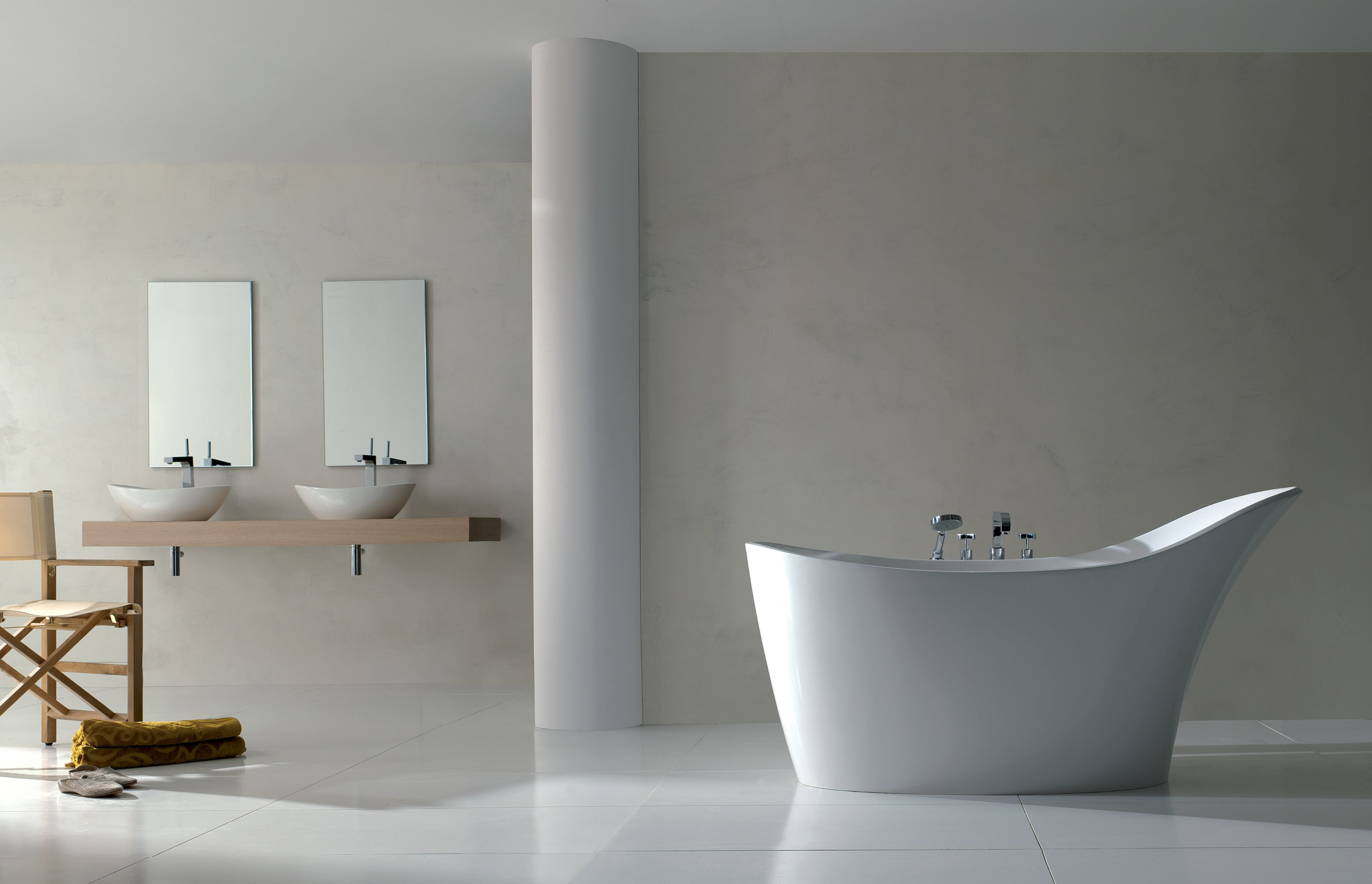 Design Simple Bathroom White Design With Layering Wooden Bathtub Style