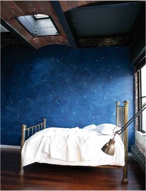 Starry night bedroom interior design center inspiration for Starry night lights for bedroom
