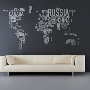 The Best Inspiration Wall Stickers Grey World Map Livingroom