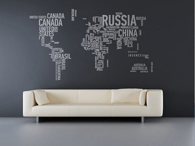 the best inspiration wall stickers grey world map