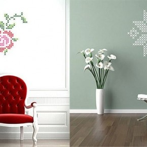 The Best Inspiration Wall Stickers Pink Rose and Grey Snowflake