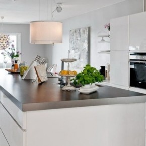 The Best Modern Apartment White Kitchen in Dining Room View