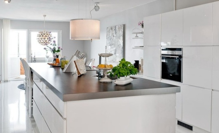 The Best Modern Apartment White Kitchen In Dining Room