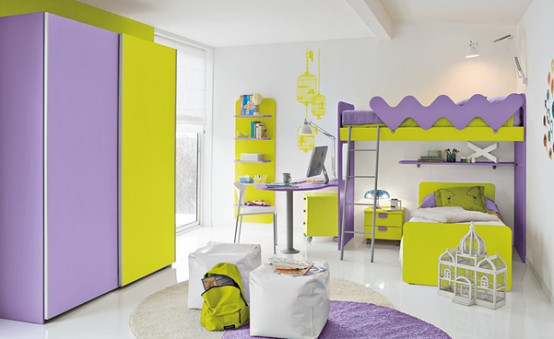 warm children room ideas purple and yellow bright interior design