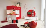 Warm Children Room Ideas Red White Wall Decor