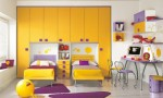 Warm Children Room Ideas Purple and Orange White Wall