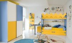 Warm Children Room Ideas Blue and Yellow Bed