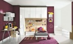 Warm Children Room Ideas White and Purple Wall
