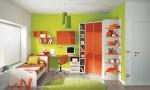Warm Children Room Ideas Green Orange Cupboard