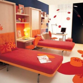 Warm Orange Teen Rooms with Small Space